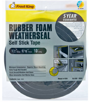 "Frost King R930H Foam Weather-Strip Tape, 1/2""x9/16""x10', Black at Sears.com"