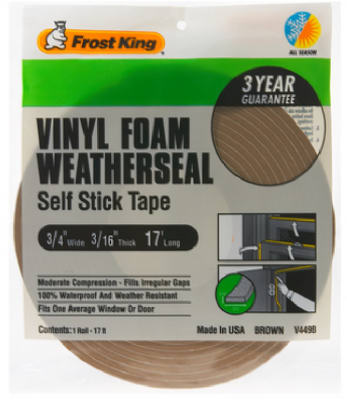 "Frost King V449BH Vinyl Foam Weather-Strip Tape, 3/4""x3/16""x17', Brown at Sears.com"