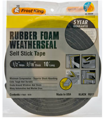 "Frost King Premium Sponge Rubber Weather-Strip Tape, 1/2""x5/16"", Black at Sears.com"