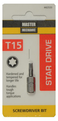 "Master Mechanic 442533 Star Drive Torx 15 Insert Bit Tip, 1"" at Sears.com"