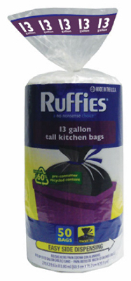 Ruffies Eco-Choice 660404 Kitchen Trash Bag 13-Gallon, Black, 50 Count at Sears.com