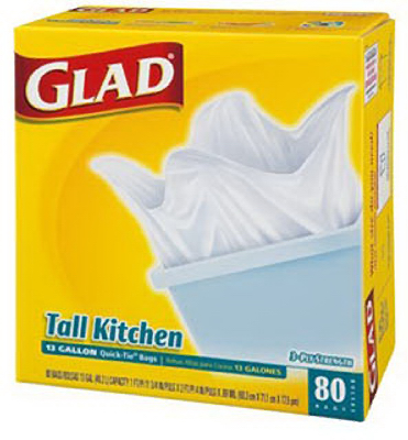Glad 60034 Quick Tie Closure Tall Kitchen Bag, 13 Gallon, 80 Count at Sears.com
