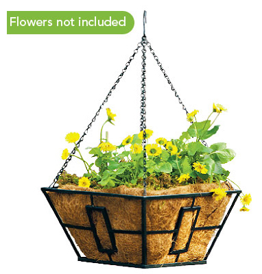 "Panacea 87850 Square Contemporary Style Hanging Basket 14"", Black at Sears.com"