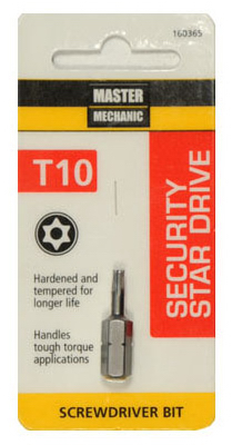 "Master Mechanic 160365 Security Star Drive T10 Torx Bit, 1"" at Sears.com"