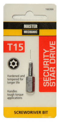 "Master Mechanic 160366 Security Star Drive T15 Torx Bit, 1"" at Sears.com"