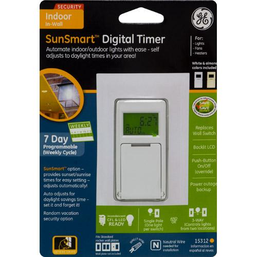 GE GE 15312 SunSmart In-Wall Self Adjusting Digital Timer, White