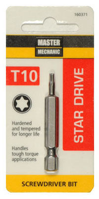 "Master Mechanic 160371 Star Drive T10 Torx Power Bit, 2"" at Sears.com"