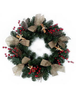 "Holiday Wonderland Artificial Wreath With Burlap Ribbons, 24"" at Sears.com"