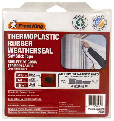 "Frost King EV20BR Thermoplastic Rubber Weather Seal, 5/16""x3/8""x20', Brown at Sears.com"