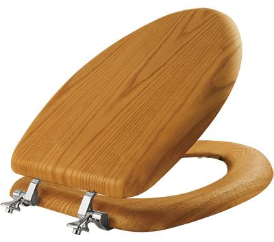 Bemis Elongated Toilet Seat, Veneer Natural Oak