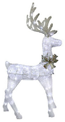 "Sylvania V53059-88 Silver Glitter Mesh Feeding Deer 48"" with 90 LED Lights at Sears.com"