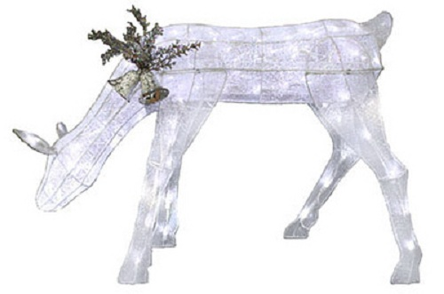 "Sylvania V53060-88 Glitter Mesh Feeding Deer 36"" with 90 LED Lights, Silver at Sears.com"