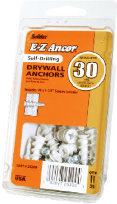"Red Head ""E-Z Ancor"" #30 Self Drilling Plastic Drywall Anchor (Pack/25) at Sears.com"